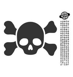 Skull and bones icon with people bonus vector