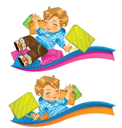 Very happy kid with gifts vector