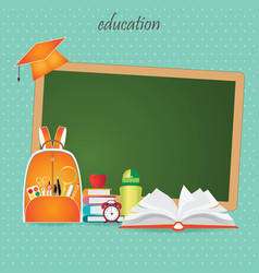 Education design background with school bag vector