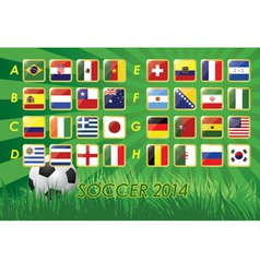National team flags for soccer 2014 vector