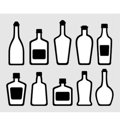 Isolated alcohol bottles set vector