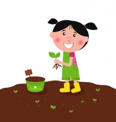 Happy kid is planting plant vector