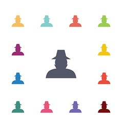 Detective flat icons set vector