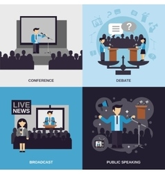 Public speaking flat set vector