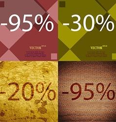 30 20 95 icon set of percent discount on abstract vector