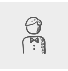 Waiter sketch icon vector