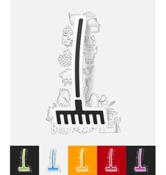 Rake paper sticker with hand drawn elements vector