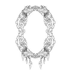 Swirl floral frame old black doodle border vector