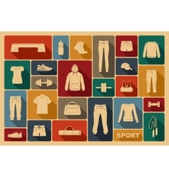 Sports clothing equipment and accessories vector