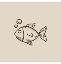 Little fish under water sketch icon vector image