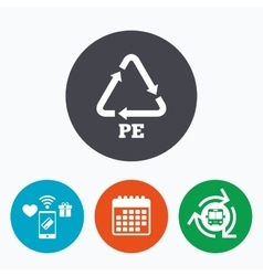 Pe polyethylene sign icon recycling symbol vector