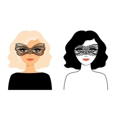 Woman in lace mask vector