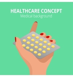 Woman holding blister pack of pills in his hands vector