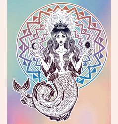 Beautiful magic mermaid queen with crown and moon vector