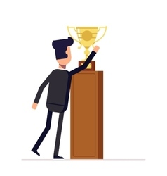 Businessman or manager reaches for the cup Man in vector image