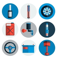 Car service flat icon set vector image vector image