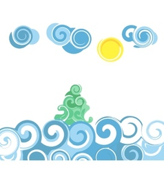 Cartoon sea waves vector image vector image