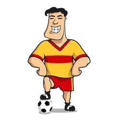 Cartoonhappy football or soccer player vector image vector image
