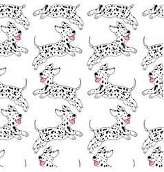 cheerful puppy dalmatian breed seamless pattern vector image vector image