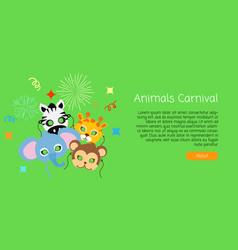 childish animal masks elephant zebra monkey vector image