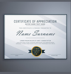 Clean certificate of appreciation template design vector