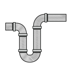 Color crayon silhouette of drain pipe siphon vector