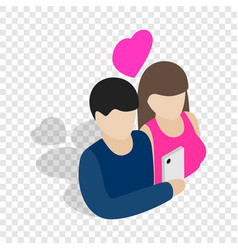 Couple in love taking selfie together isometric vector