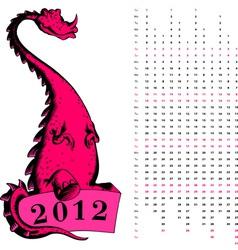 dragon calendar 2012 vector image vector image