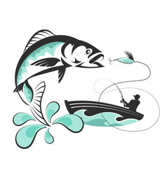 Fish and a fisherman in a boat vector