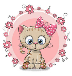 greeting card kitten with flowers vector image vector image