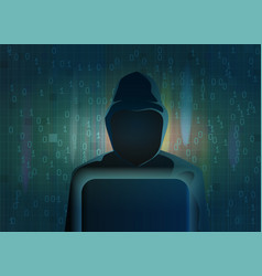 Hacker dark silhouette on abstract background vector