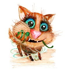 Hand drawn watercolor funny cat with toy mouse vector
