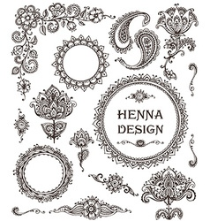 henna floral elements based on traditional Asian vector image