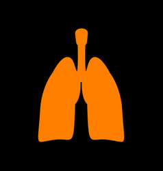 Human organs lungs sign orange icon on black vector