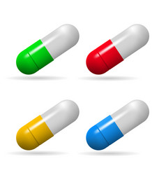 medicinal capsules set of capsules of different vector image vector image