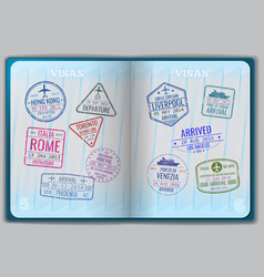 Open passport for foreign traveling vector