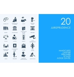 Set of blue hamster library jurisprudence icons vector