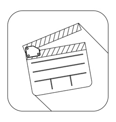 Square shape with silhouette clapperboard cinema vector