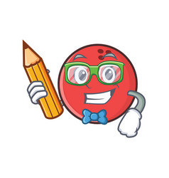 Student bowling ball character cartoon with pencil vector
