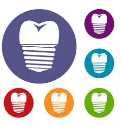 tooth implant icons set vector image vector image