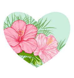 Tropical floral heart vector
