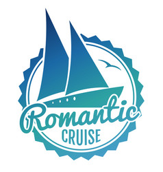 water cruise logo design - yacht travel banner vector image
