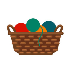 wicker basket with colorful yarns vector image