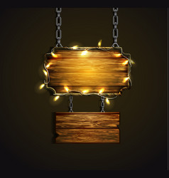 wooden boards with lights vector image