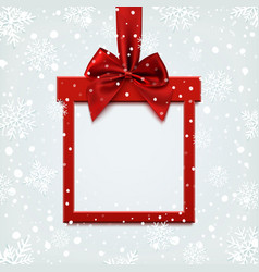 Blank red square banner in form of christmas gift vector