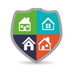 Home security shield protected colored emblem vector