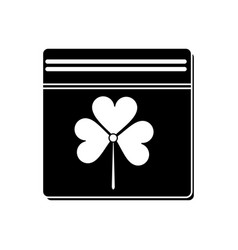 st patricks day calendar clover pictogram vector image