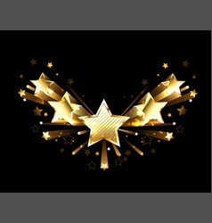 Sparkling gold five stars vector