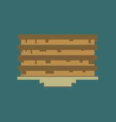 Pixel icon in flat style pancake with jam vector