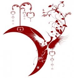 bird moon hearts vector image